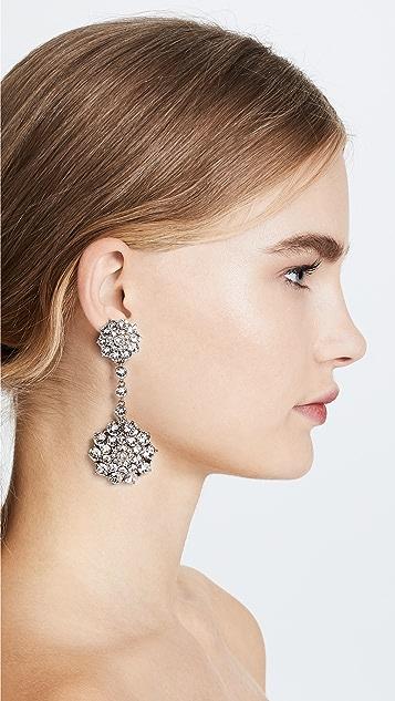 Oscar de la Renta 经典镶珠宝吊带耳环