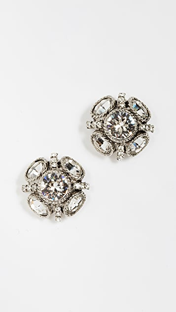 Oscar de la Renta Classic Button Earrings - Crystal/Silver