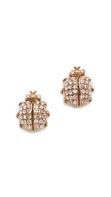 Oscar de la Renta Crystal Bug Button Earrings