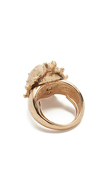 Oscar de la Renta Crystal Bug Imitation Pearl Ring