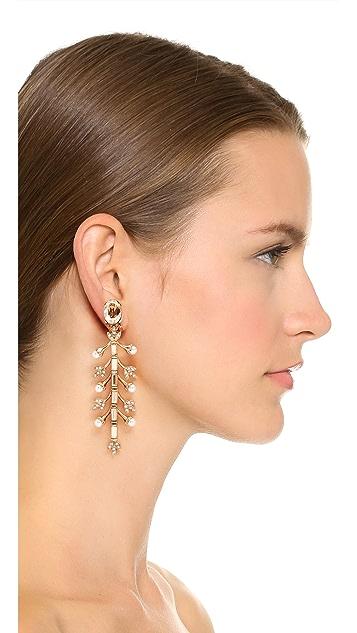 Oscar de la Renta Crystal Baguette Leaf Long Earrings