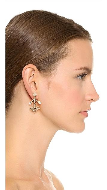 Oscar de la Renta Crystal Baguette Leaf Earrings