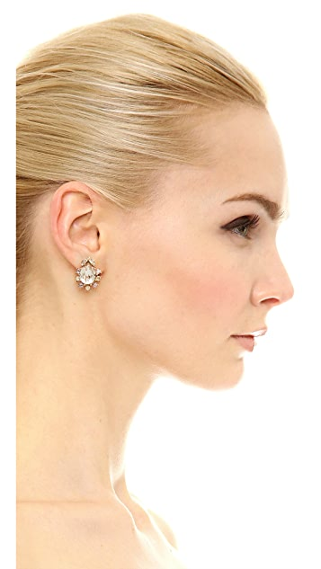 Oscar de la Renta Tiered Crystal Button Earrings