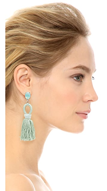 Oscar de la Renta Short Silk Tassel Clip On Earrings
