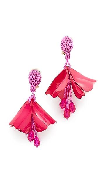 Oscar de la Renta Mini Impatiens Flower Drop Clip On Earrings