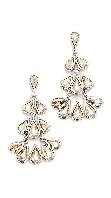 Oscar de la Renta Teardrop Crystal Chandelier Earrings
