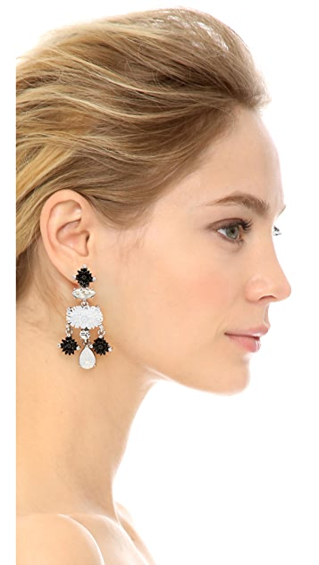 Oscar de la Renta Dahlia Resin Clip On Drop Earrings