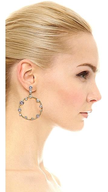 Oscar de la Renta Circular Crystal Earrings