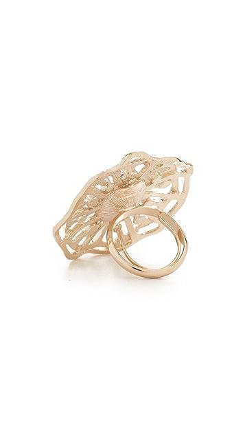 Oscar de la Renta Perforated Crystal Round Ring