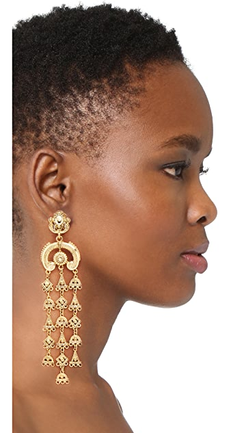 Oscar de la Renta Charm Clip On Chandelier Earrings