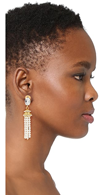 Oscar de la Renta Bejeweled Tassel Clip On Earrings