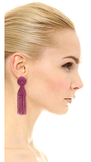Oscar de la Renta Short Beaded Tassel Clip On Earrings