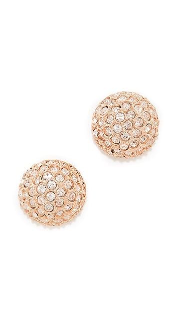Oscar de la Renta Pave Crystal Dome Button Earrings