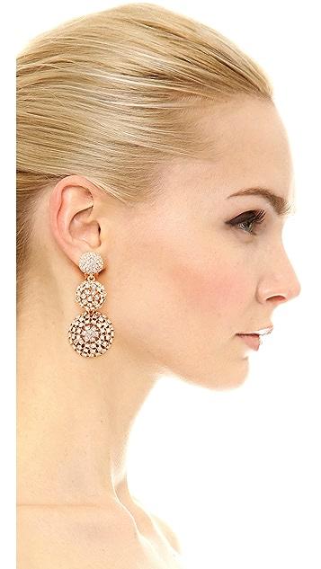 Oscar de la Renta Pave Crystal Dome Drop Clip On Earrings