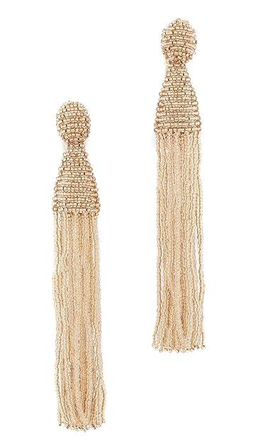 Oscar de la Renta Long Beaded Tassel Clip On Earrings