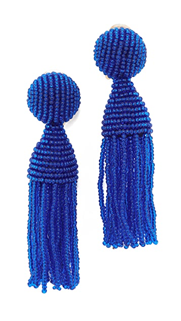 Oscar de la Renta Classic Short Tassel Clip On Earrings
