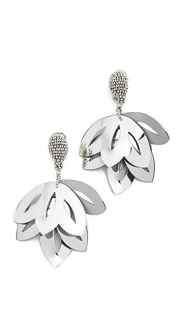 Oscar de la Renta Floral Opaque Tulip Clip On Earrings