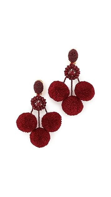 Oscar de la Renta Triple Pom Pom Clip On Earrings