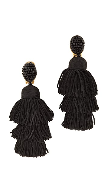 Oscar de la Renta Long Silk Tiered Tassel Clip On Earrings