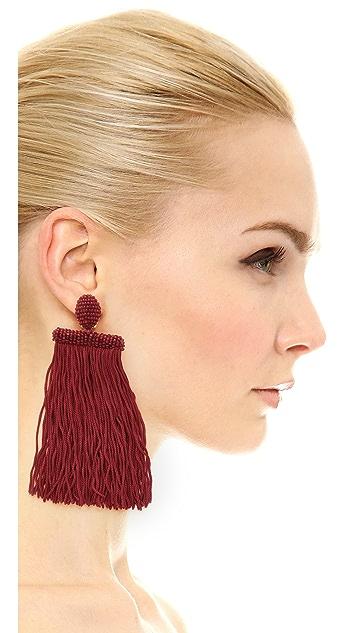 Oscar de la Renta Long Silk Waterfall Tassel Clip On Earrings