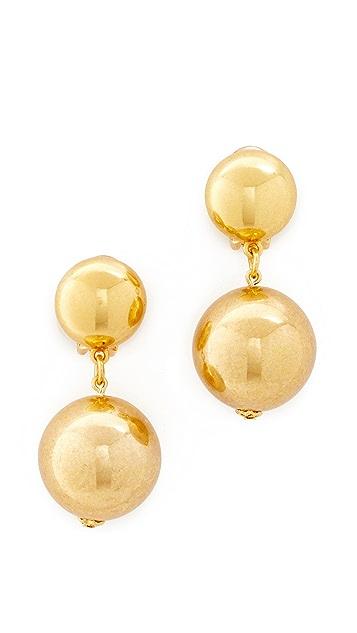 Oscar de la Renta Drop Clip On Earrings
