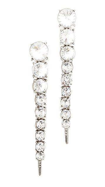 Oscar de la Renta Single Tendril Crystal Earrings