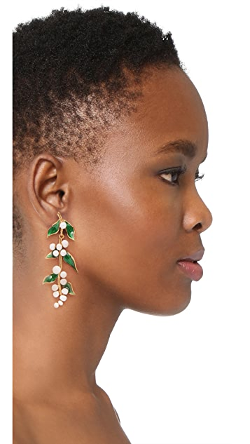 Oscar de la Renta Painted Vine Earrings