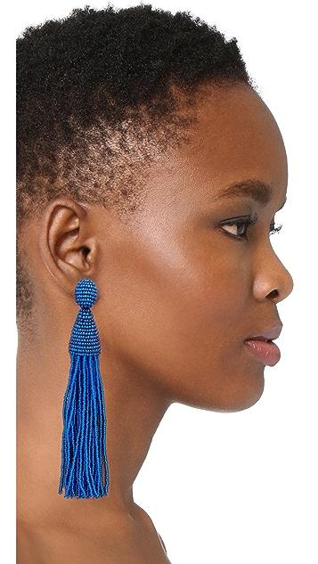 Oscar de la Renta Beaded Tassel Clip On Earrings