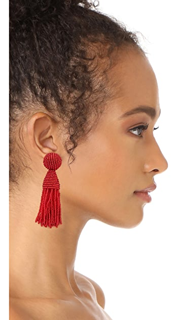 Oscar de la Renta Short Beaded Tassel Clip On Earring