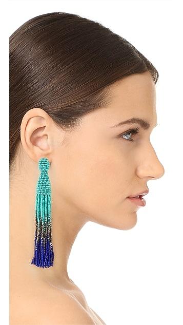 Oscar de la Renta Long Tassel Clip On Earrings