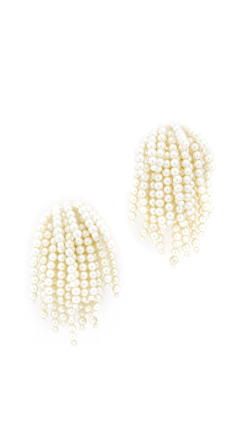 Oscar de la Renta Imitation Pearl Tassel Clip On Earrings