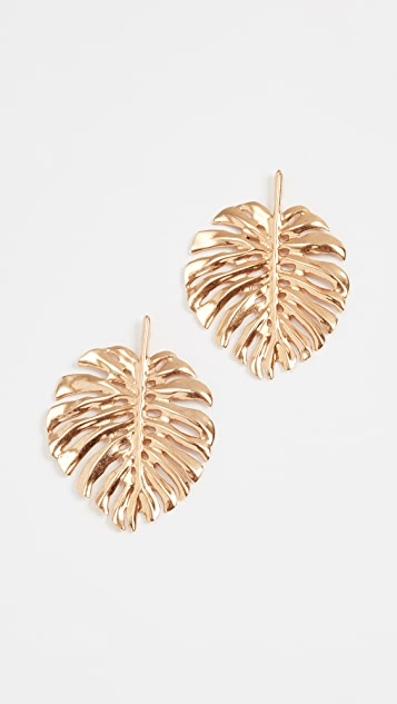 Oscar de la Renta Monstera Leaf Earrings