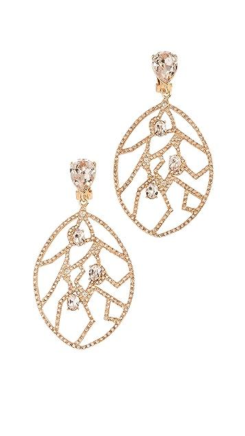 Oscar de la Renta Crystal Fern Wrap Clip On Earrings