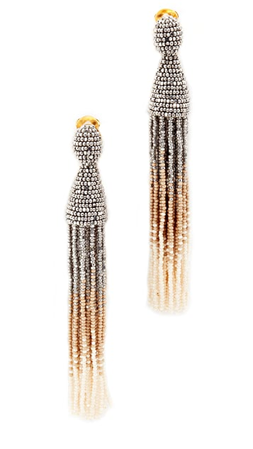Oscar de la Renta Long Ombre Beaded Tassel Clip On Earrings