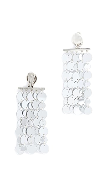 Oscar de la Renta Hammered Circle Drop Clip On Earrings