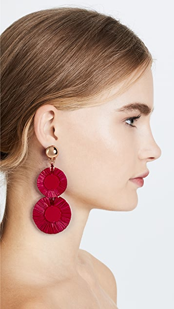 Oscar de la Renta Raffia Disk Drop Clip On Earrings