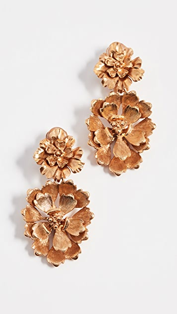 Oscar de la Renta Blooming Bold Flower Drop Clip On Earrings - Gold