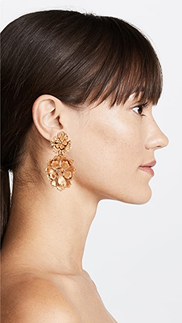 Oscar de la Renta Blooming Bold Flower Drop Clip On Earrings