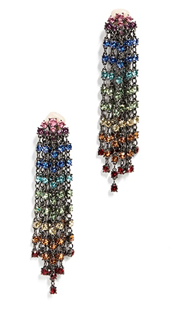 Oscar de la Renta Crystal Cascade Waterfall Earrings