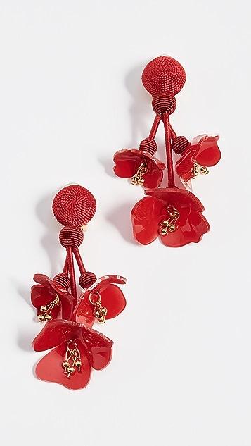 Oscar de la Renta Falling Flower Earrings - Carmine