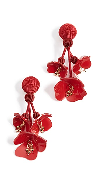 Oscar de la Renta Falling Flower Earrings