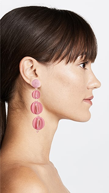 Oscar de la Renta Spliced Globe Clip On Earrings