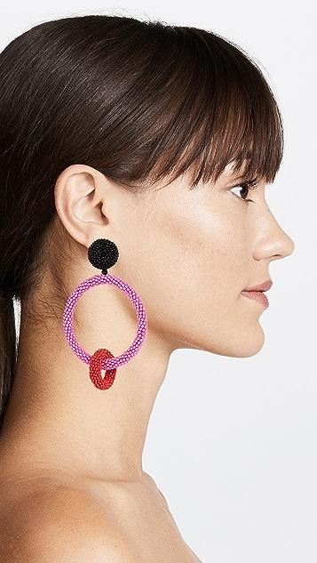 Oscar de la Renta Two Tone Beaded Double Hoop Clip On Earrings