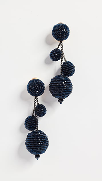Oscar de la Renta Triple Beaded Ball Clip On Earrings