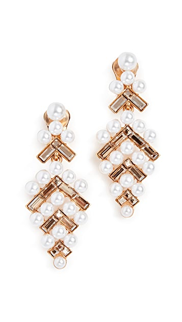 Oscar de la Renta Baguette Imitation Pearl Earrings