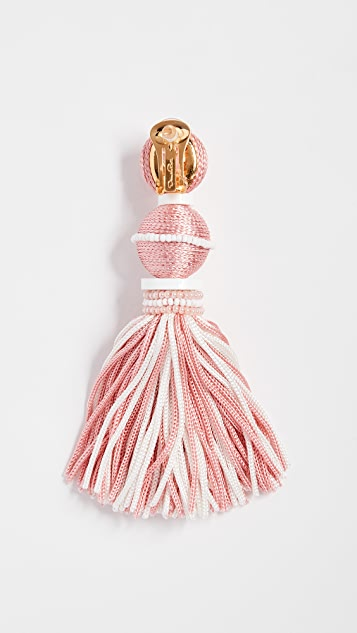 Oscar de la Renta Two Tone Ball Tassel Earrings
