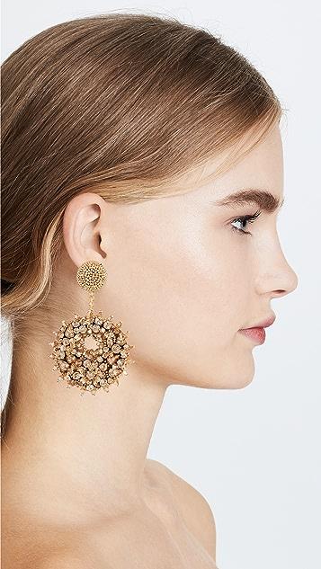 Oscar de la Renta Bold Disc Crystal Earrings