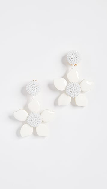 Oscar de la Renta Bold Enamel Flower Earrings