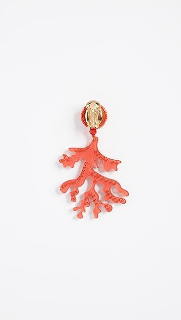 Oscar de la Renta Coral Branch Drop Earrings
