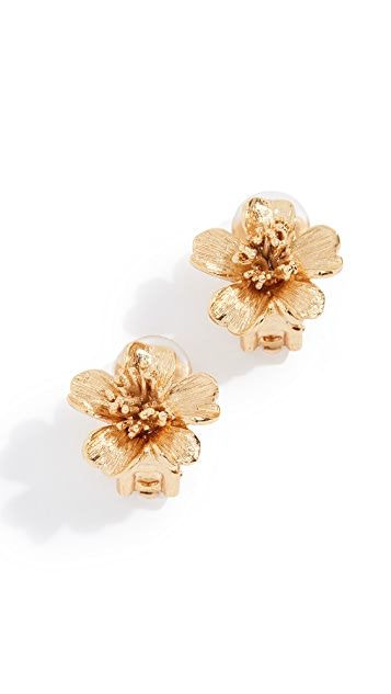 Oscar de la Renta Delicate Flowers Button Earrings